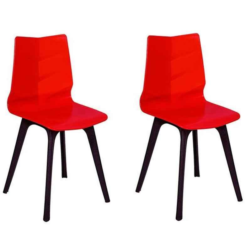 Regent Diamond Shell Plastic Black & Red Chair (Pack of 2)