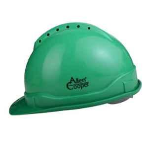 Allen Cooper Green Polymer Nape Type Safety Helmet with Chin Strap, SH702-G (Pack of 10)