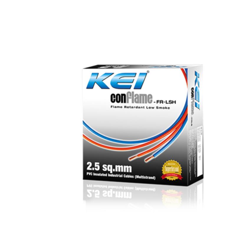 KEI 6 Sqmm Single Core Conflame FRLSH Black Copper Unsheathed Flexible Cable, Length: 90 m