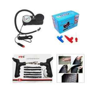 Love4ride Steel Tubeless Tyre Puncture Repair Kit & Tyre Air Inflator with Gauge