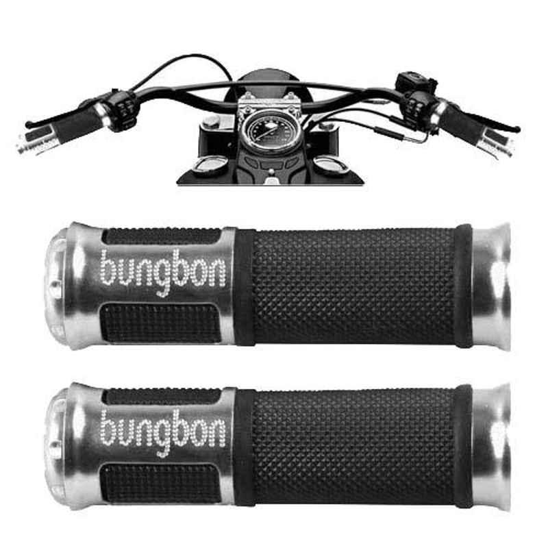 AllExtreme EXUGC2S 2 Pcs Silver Bungbon Designer Anti Slip Grip Cover Set