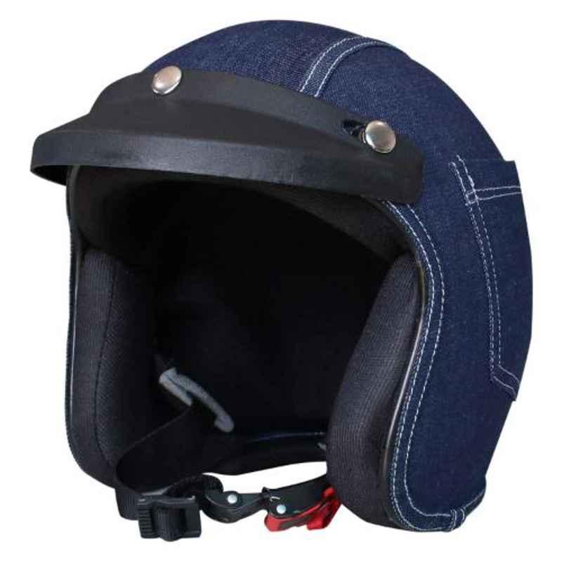 Habsolite HB-DH002 Denim Blue Open Face Helmet with Detachable Cap & Adjustable Strap, Size: M