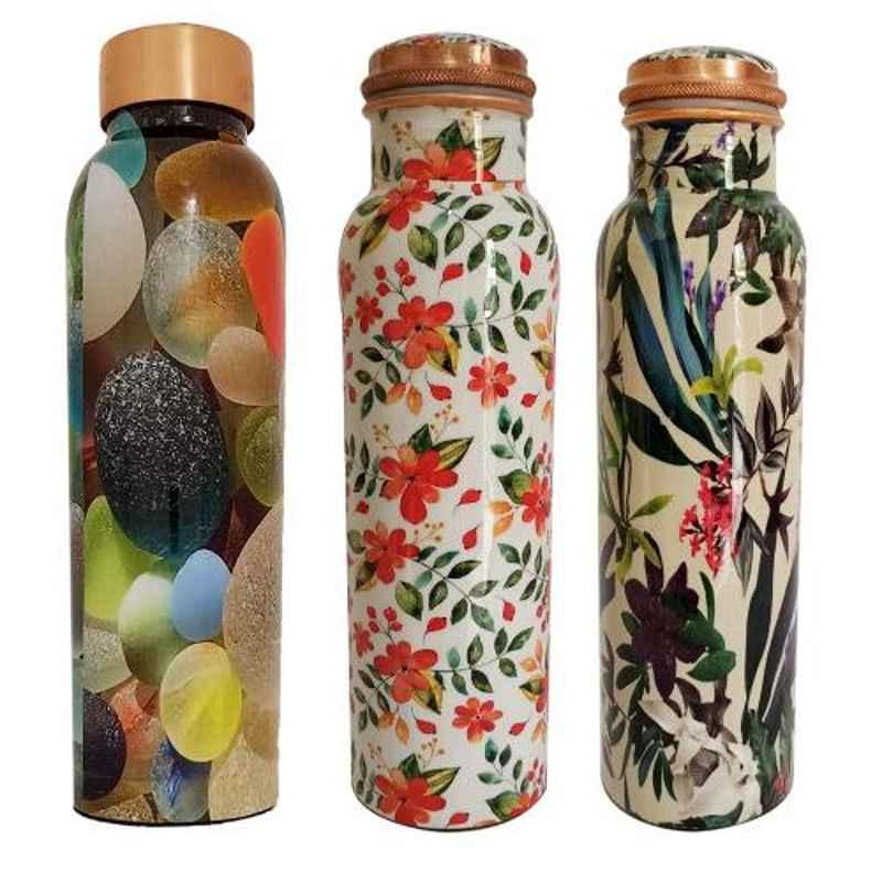 Healthchoice 1L Leaf, Crystel & Orange Copper Jointless Water Bottle (Pack of 3)
