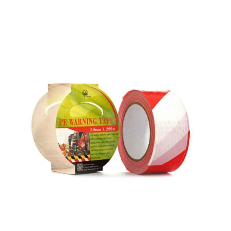 Darit ES-23 50mm White & Red Non Adhesive Polyethene Warning Tape, Length: 200 m