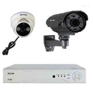Zicom 1MP 1 Bullet, 1 Dome IR CCTV Camera Kit with 4 Channel DVR, Z.CC.ZA.DIY.2001.CCTVKIT2