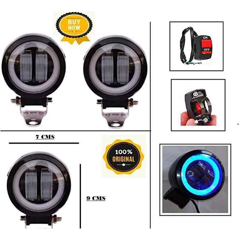 AOW Harley Type Bike Led Fog Lamp Light Assembly White & Blue (Set of 2) with Switch for Bullet Electra EFI39