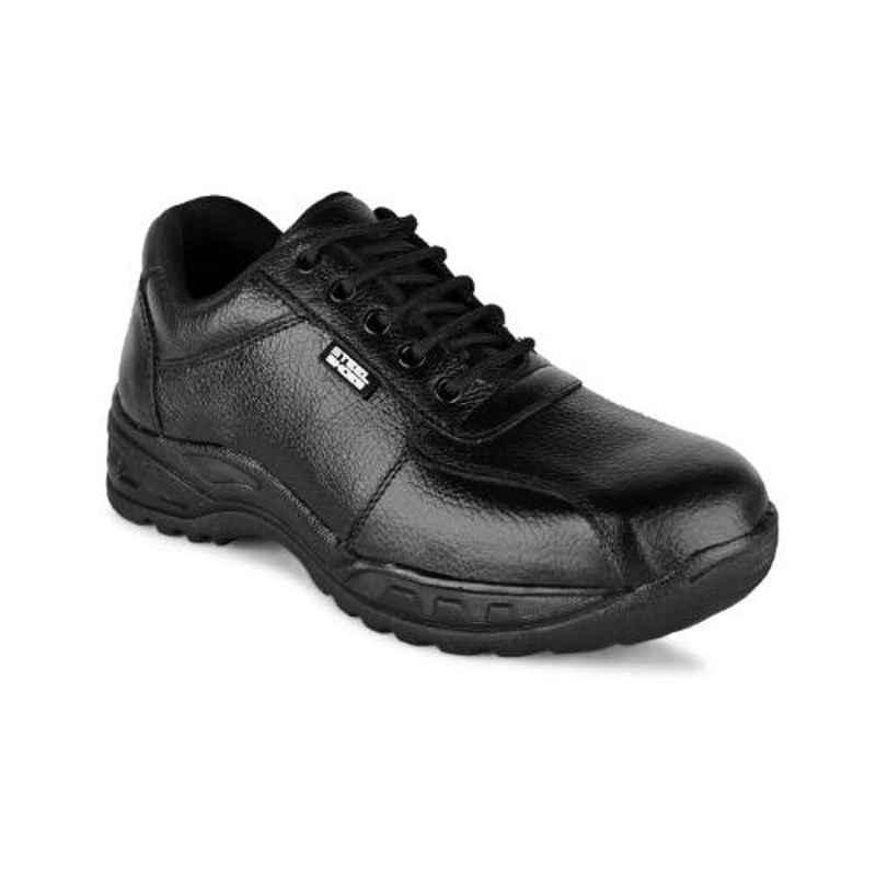 Trxxble 1101 Leather Steel Toe Black Safety Shoes, Size: 10