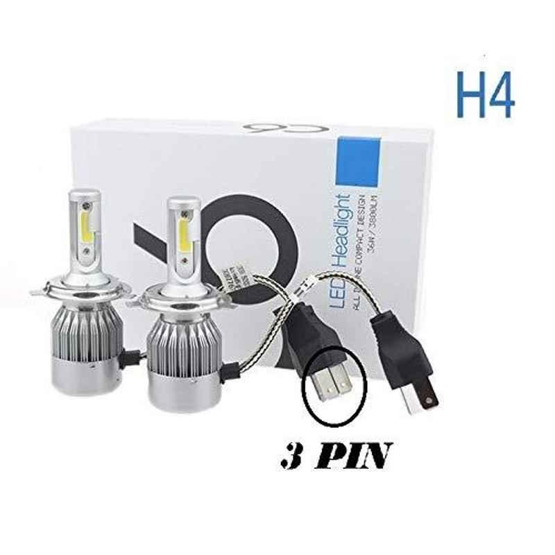 AOW C6 H4 LED Headlight Bulbs All in One Compact Design 36W/3800LM LED Headlight Conversion Kit -Pack of 2 for Extremely Bright White Light Universal for All Bikes T-29