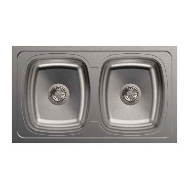 Carysil Elegance Double Bowl Stainless Steel Matt Finish Kitchen Sink, Size: 34x20x8 inch