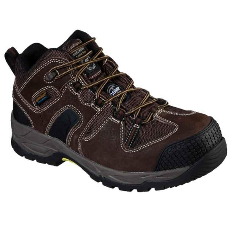 Skechers 77538 Leather Composite Toe Dark Brown Safety Shoes, Size: 9