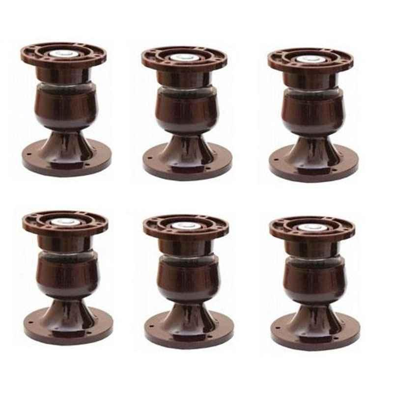 Nixnine Plastic Brown Magnetic Door Stopper, NO-5_BRN_6PS_A (Pack of 6)
