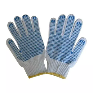 Metro Cotton Knitted White & Blue Hand Gloves with PVC Dotted (Pack of 600)
