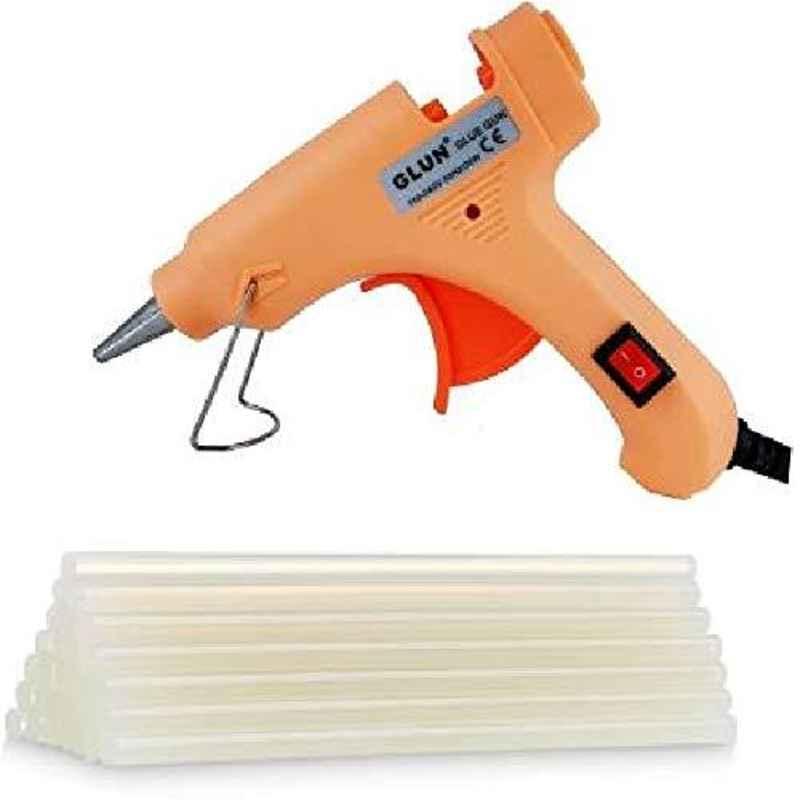 Glun 20W Glue Gun with 10 Pcs Transparent Glue Sticks