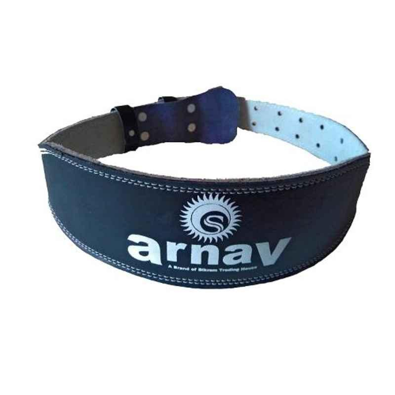 Arnav 4 inch Black Split Leather Weight Lifting Gym Belt with Steel Roller Buckle, Size: S