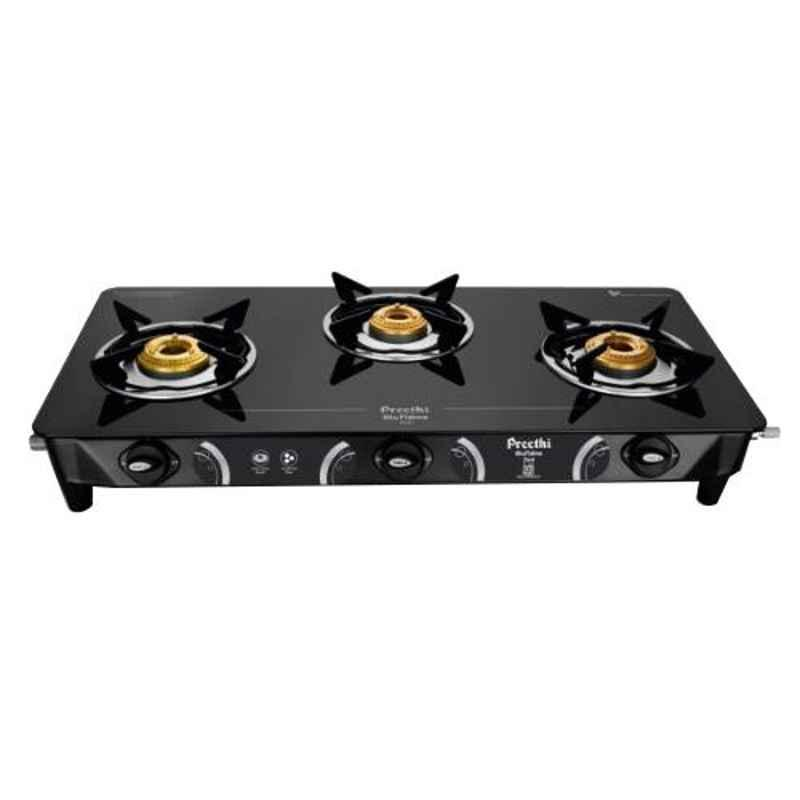 Preethi Zeal Glass Top Black with 3 Burners Gas Cook Top, ZTS124