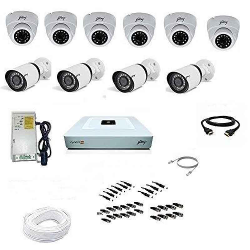 Godrej SeeThru 1080p Full HD White CCTV Camera Kit without Hard Disk, Godrej2MP6DOME4BULLET