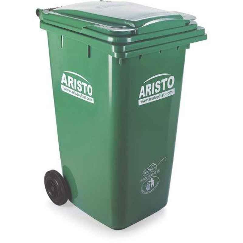 Aristo 240L Plastic Green Dustbin with Wheel
