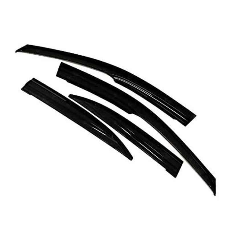 Auto Pearl 4 Pcs Black Car Rain & Wind Door Visor Side Window Deflector for Ameo