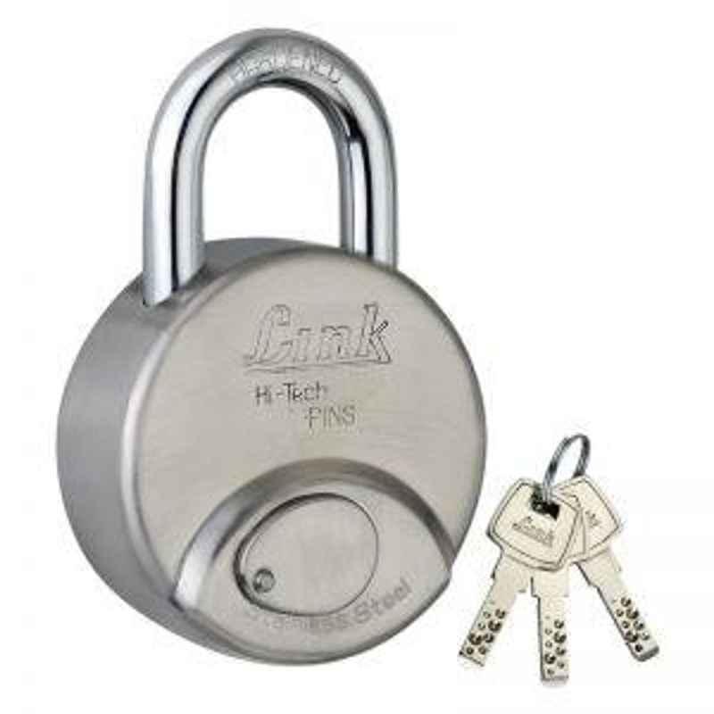 Link 78mm Hi Tech Stainless Steel Padlock with 3 Keys, R-78