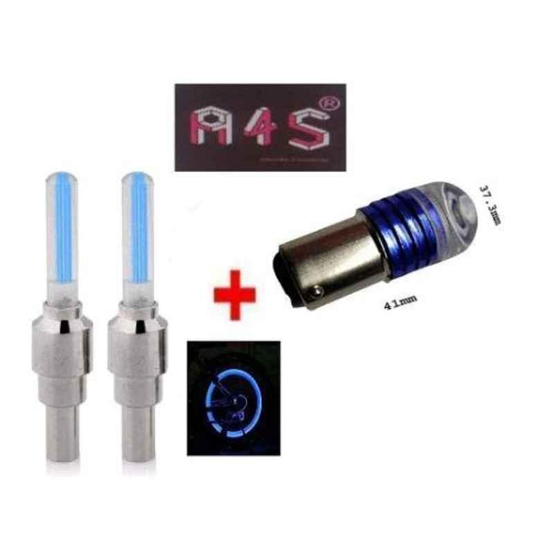 A4S 2 Pcs Blue Universal Bike Tyre Motion Sensor Fancy Light Set, ASTLO43