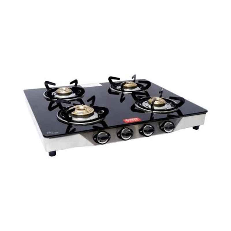 Good Flame Regular 4 Burners Manual Ignition Glass Gas Stove, GF013