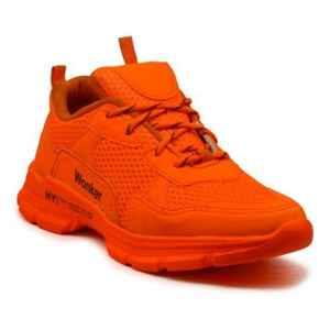 Wonker SR-6376 Synthetic Leather Steel Toe Orange Safety Shoes, Size: 10