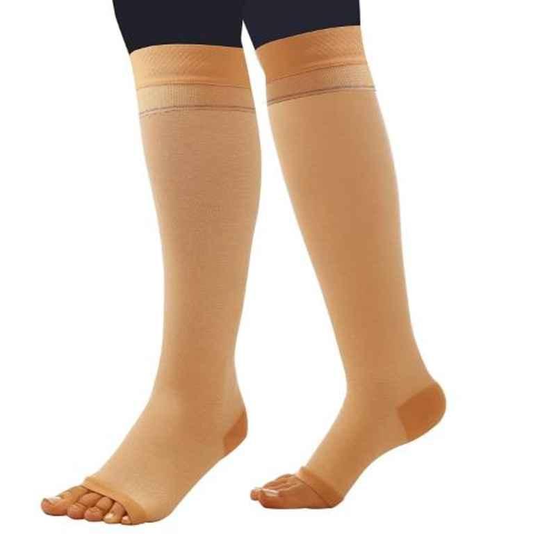Comprezon 2160-003 Cotton Varicose Vein Class-2 Beige Below Knee Stockings, Size: M