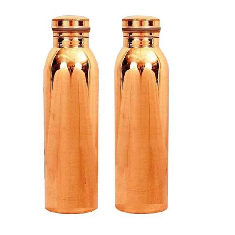 Healthchoice 750ml Pure Copper Plain Jointless Bottle (Pack of 2)