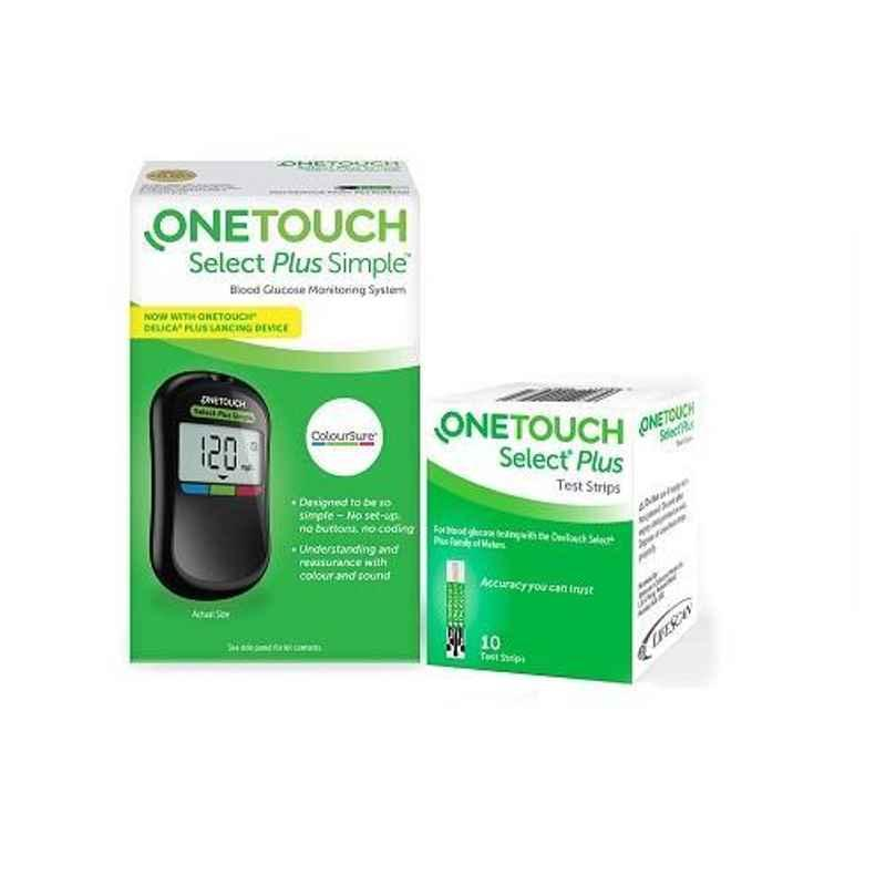 OneTouch Select Plus Simple Blood Glucometer with 10 Pcs Test Strips