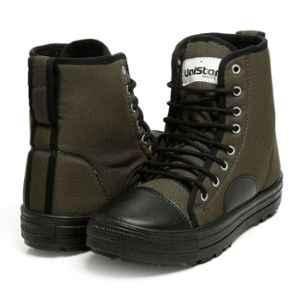 Unistar Synthetic Leather PVC Sole Olive Green Safety Boots, 1001_OliveGreen, Size: 8