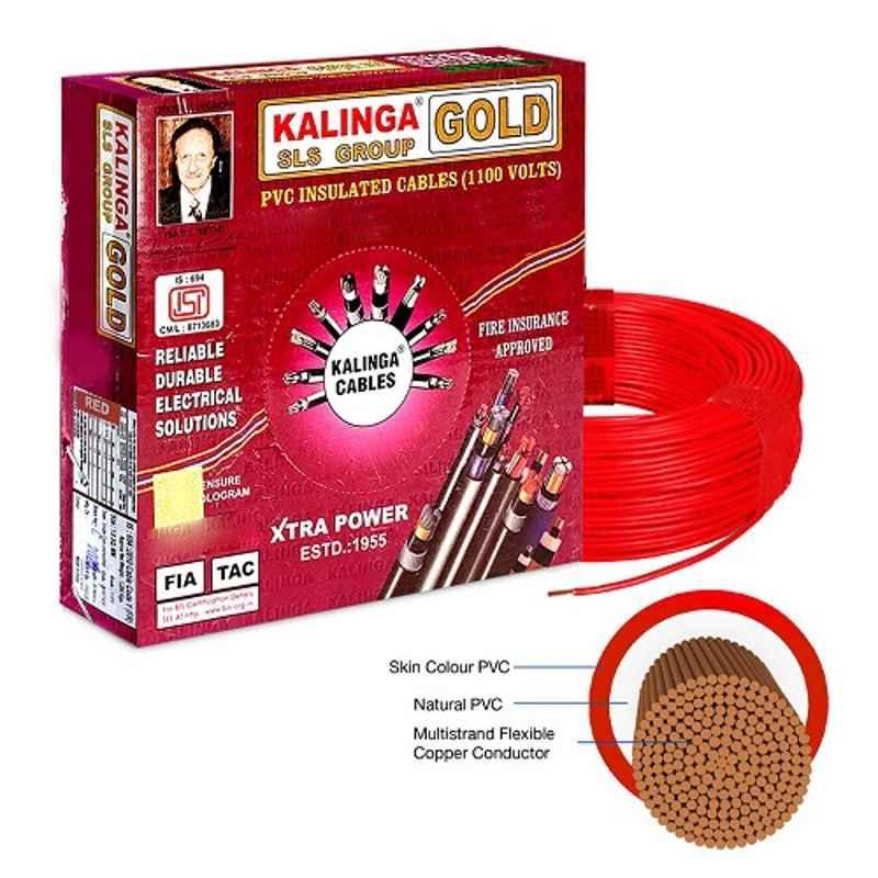 Kalinga Gold 1 Sq mm Red FR PVC Housing Wire, Length: 90 m