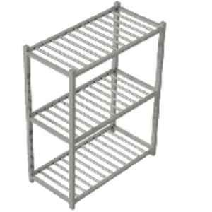 Star Fabricator 1200x500x1500cm Pot Rack with Three 1Inch Square Pipe Shelves