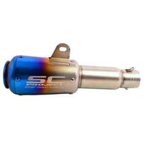 RA Accessories Black SC Project Long Silencer Exhaust for Honda Shine-Blue