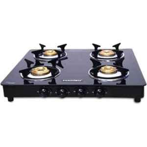 Macizo Preto 4 Burner Black Manual Ignition Glass Gas Stove