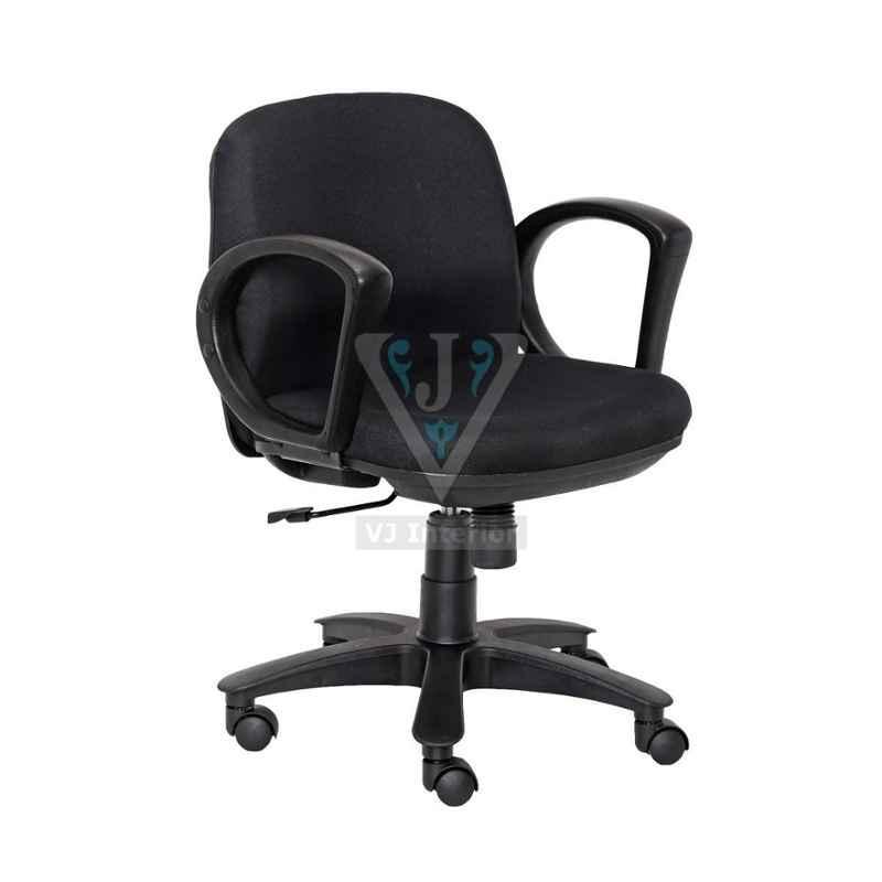 VJ Interior 17x19x17 inch Black Crepe Revolving Office Chair, VJ-1052