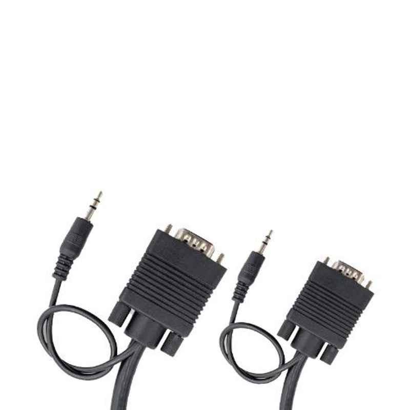Logic 20m PVC & Copper Black Male to Male Nickel Plated VGA & Audio AV Cable, LG-VAC20M