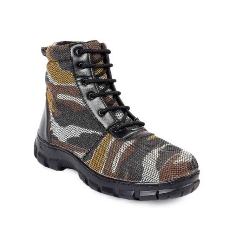Woakers Synthetic Leather Steel Toe Airmix Sole Military Safety Boots, Size: 8