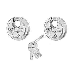 Smart Shophar 90mm 2Pcs Steel Silver Disc Combo Ultra Keys Shutter Lock Set, SLK80SL-COMB-UKSL90-S1