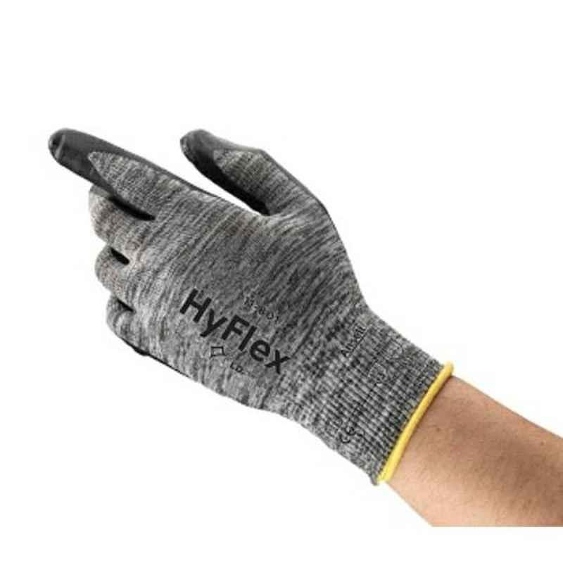 Ansell HyFlex Black & Grey Foam Nitrile & Nylon Industrial Hand Gloves, Size: 9, 11-801 (Pack of 12)
