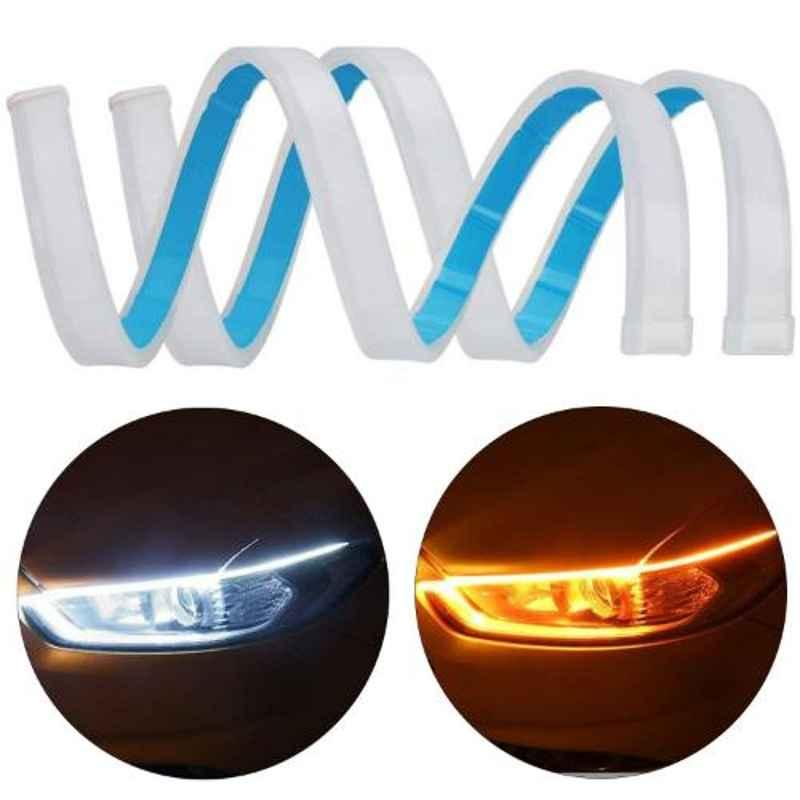 AllExtreme EXDRLY2 2 Pcs 24 inch Yellow & White Flexible Silica Gel Daytime Running LED Strip Turn Signal Light Set