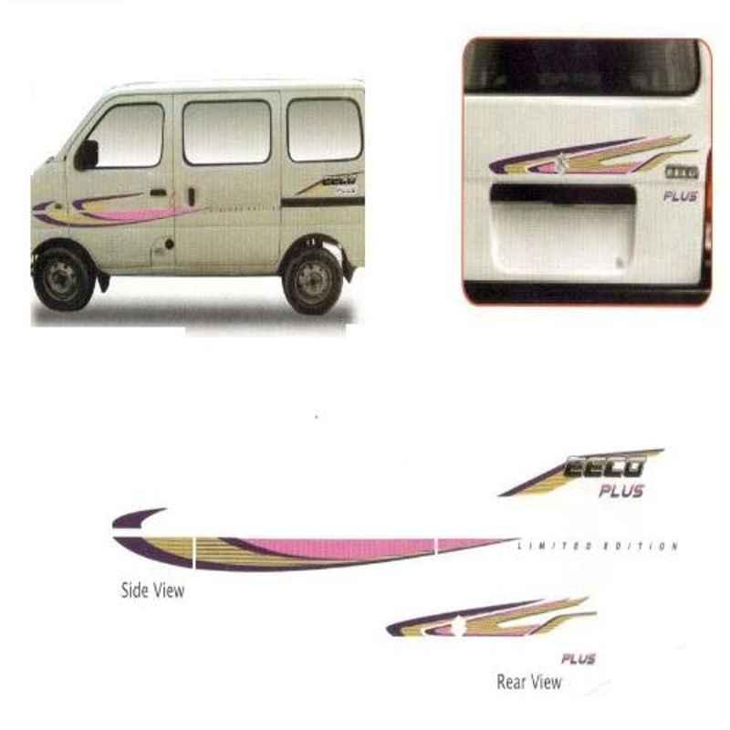Galio Purple & Gold Graphics Car Sticker Set for Maruti Suzuki Eeco, GL-229P