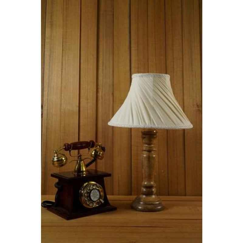 Tucasa Mango Wood Royal Brown Table Lamp with 12 inch Polycotton Off White Conical Shade, WL-244