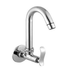 Logger Brass Chrome Finish Wall Mount Sink Cock, AR-L2001205-1A