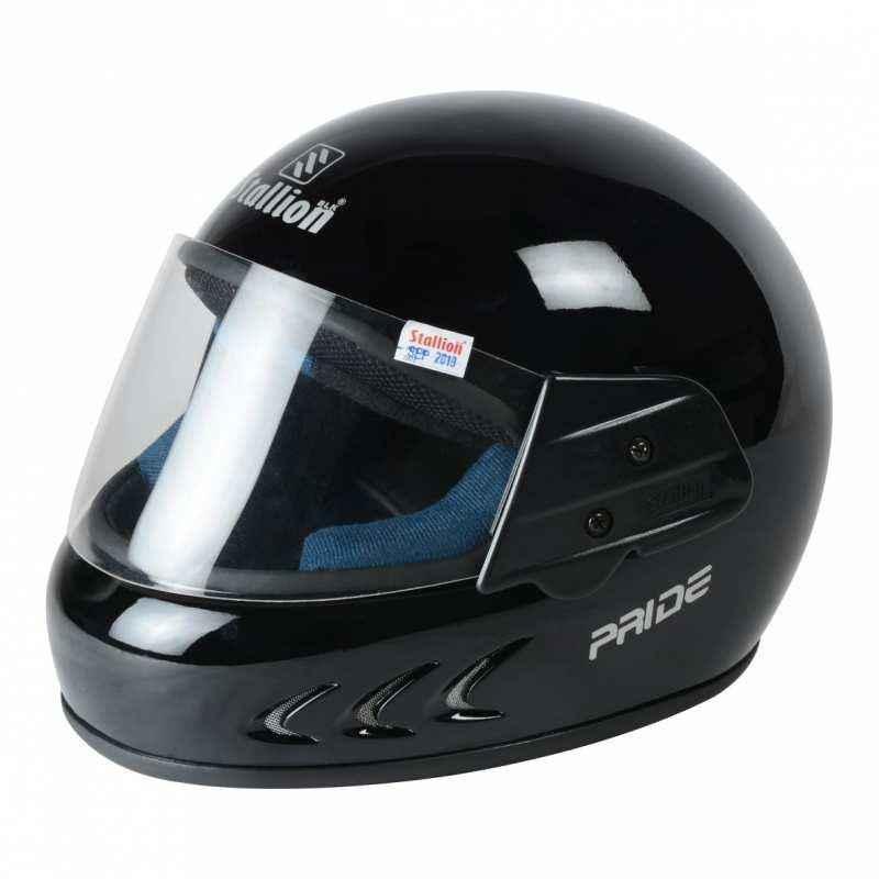 Stallion BLK Pride Plus Full Face Black Motorbike Helmet, Size: M