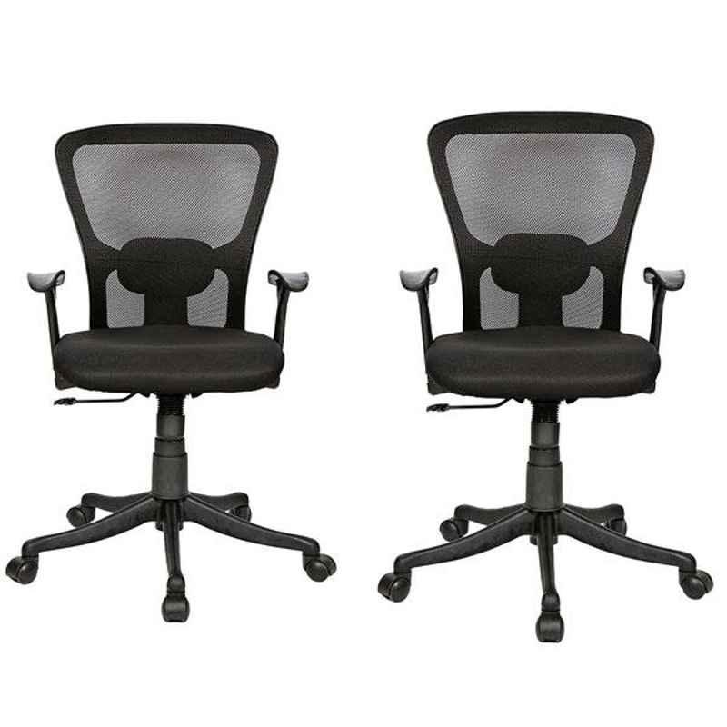 Regent Jazz LB Net & Metal Black Chair with T Type Handle (Pack of 2)