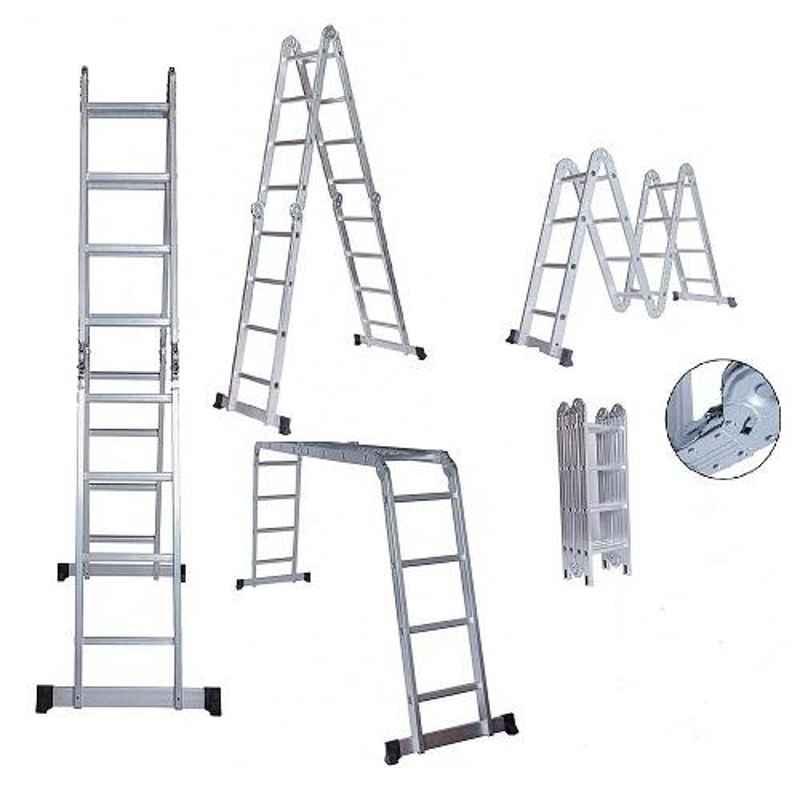 Bigapple 150kg 4x4 Step 15.5 ft Aluminium Multipurpose Ladder, BA-354