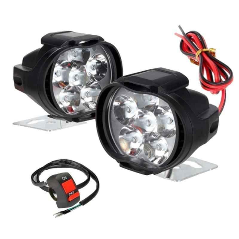 Love4ride 6 LED Shilon Black Waterproof Spot Beam Pod Work Fog Light with Handle Bar Switch