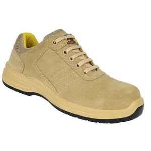 Allen Cooper AC-1581 Leather Composite Toe Camel Safety Shoes, Size: 8