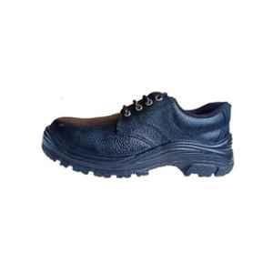 Vanu VS-001 Leather Steel Toe Black Safety Shoes, Size: 7