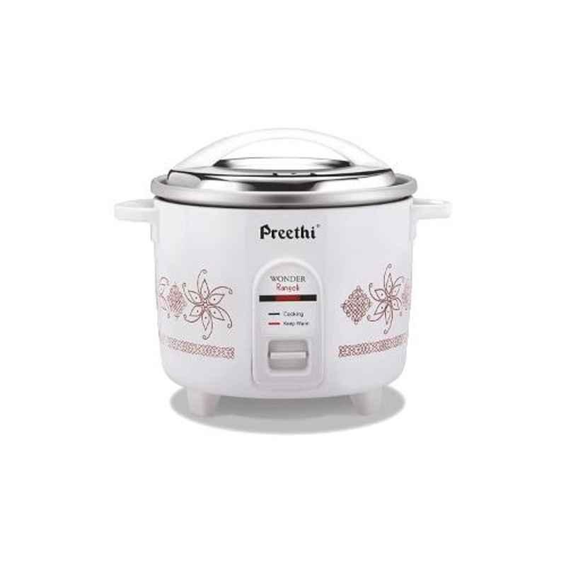 Preethi Wonder Rangoli White Double Pan 1.8L 660W Electric Rice Cooker, RC320A18